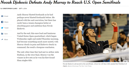 Novac Djokovic Defeats Andy Murray to Reach US Open Semifinals